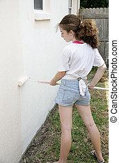 adolescente, pintura, casa