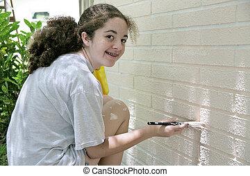 adolescente, pintura de la casa, feliz