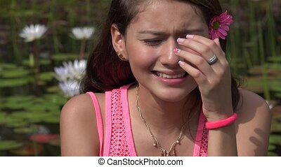 adolescente, pleurer, triste