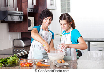 adolescente, porzione, figlia, cottura, madre