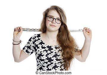 adolescente, prese, flauto, studio, ragazza, occhiali