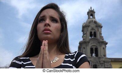 adolescente, prier, église