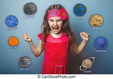 Adolescente, puños, planetas, ella, enojado, apretado,...