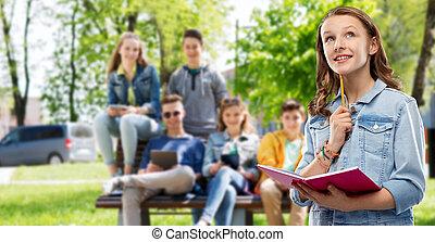adolescente, quaderno, diario, studente, ragazza, o