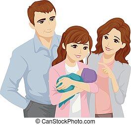 adolescente, ragazza bambino, famiglia, illustrazione