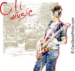 adolescente, ragazza, chitarra esegue, in, città, fondo