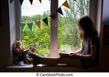 adolescente, rebord fenêtre, séance