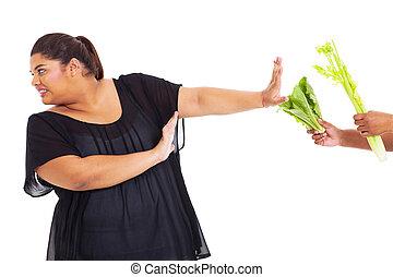 adolescente, refugo, menina, excesso de peso, legumes
