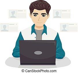 adolescente, rete, illustrazione, aggiungere, sociale, tipo, amici