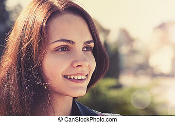 adolescente, retrato, ao ar livre, femininas