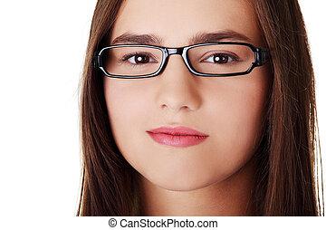 adolescente, retrato, niña
