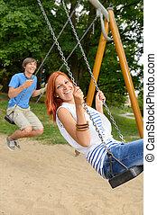 adolescente, rir, parque, par, balanço