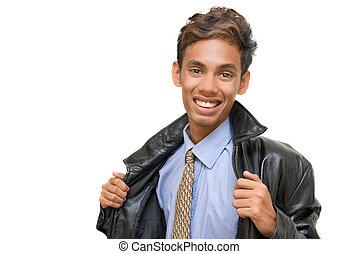 adolescente, ritratto, sorridente, asiatico