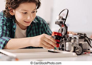 adolescente, robot, niño, construir, capaz, estudio