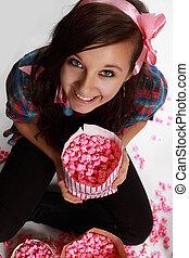 adolescente, rosa, ragazza, popcorn