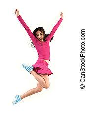 adolescente, saltando alto