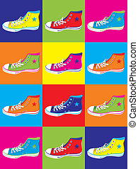 adolescente, scarpe tennis, fondo