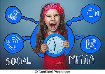 adolescente, schizzo, set, rete, orologio, media,...