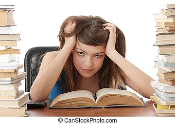 adolescente, scrivania, ragazza, studiare