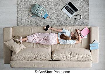 adolescente, secondo, stanco, in pausa, ragazza, scuola