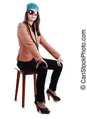 adolescente, seduta, moda, indossare, sedia, ragazza