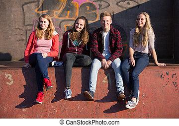 adolescente, sentando, parque, skateboard, retrato, amigos