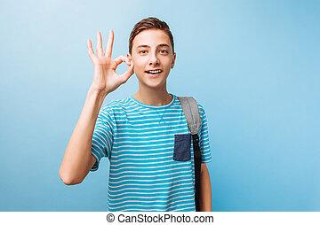 adolescente, signo bueno, alegre, cámara, miradas, tipo, exposiciones