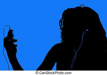 adolescente, silhouette