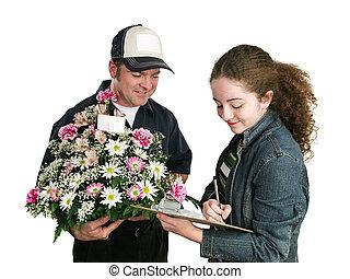 adolescente, sinais, para, flores