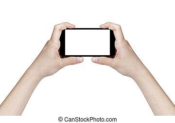 adolescente, smartphone, femmina, generico, tenere mani