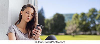 adolescente, smartphone, texting, triste, niña bonita