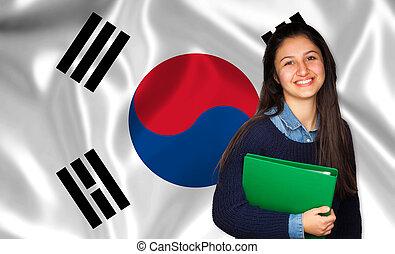 adolescente, sobre, bandeira, estudante, coreano, sorrindo