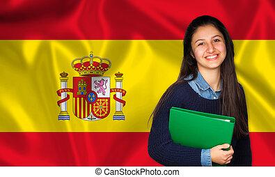 adolescente, sobre, bandeira, estudante, espanhol, sorrindo