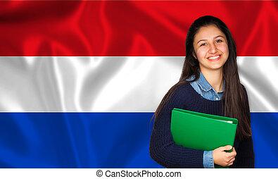 adolescente, sobre, bandeira, estudante, holandês, sorrindo