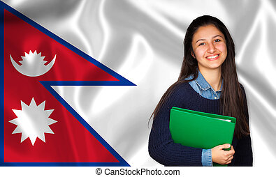 adolescente, sobre, bandeira, estudante, nepalese, sorrindo