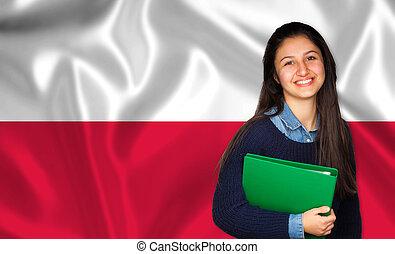 adolescente, sobre, bandeira, estudante, polaco, sorrindo