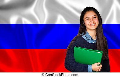 adolescente, sobre, bandeira, estudante, russo, sorrindo