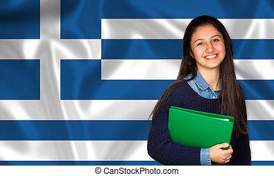 adolescente, sobre, bandeira grega, estudante, sorrindo