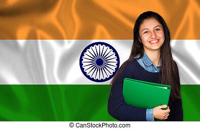 adolescente, sobre, bandeira, indianas, estudante, sorrindo