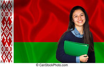 adolescente, sobre, belarusian, bandeira, estudante, sorrindo