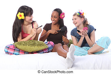 adolescente, sonno, fare, ragazze, su, giochi, festa