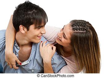adolescente, sonreír., pareja, encima de cierre