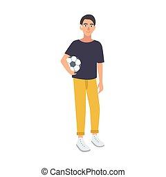 adolescente, sordo, udienza, giocatore, style., giovane, fondo., presa a terra, bianco, calcio, calciatore, appartamento, palla, colorito, football, illustrazione, cartone animato, ragazzo, deafness., isolato, danneggiamento, vettore, o