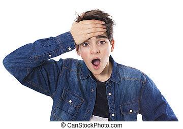 adolescente, sorpresa, espressione