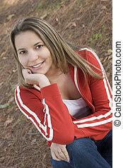 adolescente, sorridente