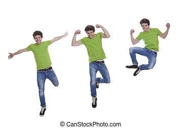 adolescente, sorrindo, pular