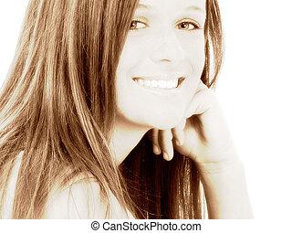 adolescente, sorrizo, menina