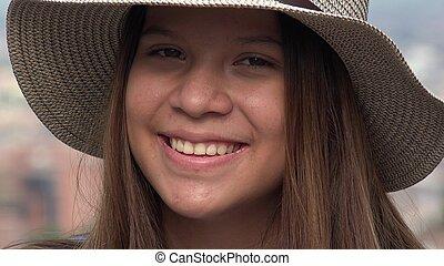 adolescente, sourire, joli, figure