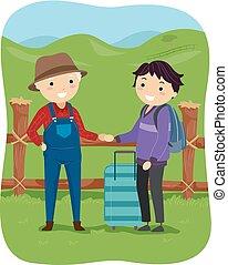 adolescente, stickman, turista, fazenda, sujeito, voluntário