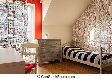 adolescente, stile, retro, camera letto
